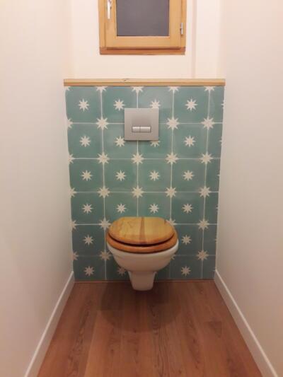 Salle de bain bleue avec wc