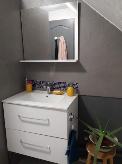 Salle de bain gris avec simple vasque
