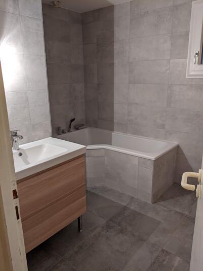 Salle de bain gris avec baignoire