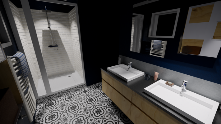 Salle de bain moderne bleue avec douche italienne