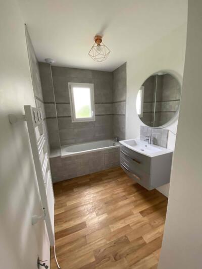 Salle de bain moderne gris avec baignoire