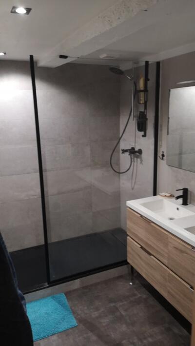 Salle de bain moderne gris avec douche