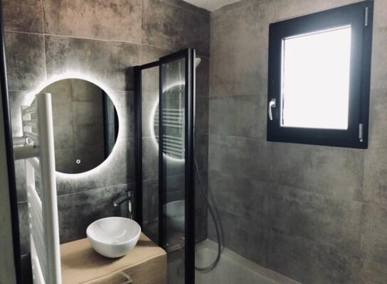 Salle de bain moderne noir avec douche