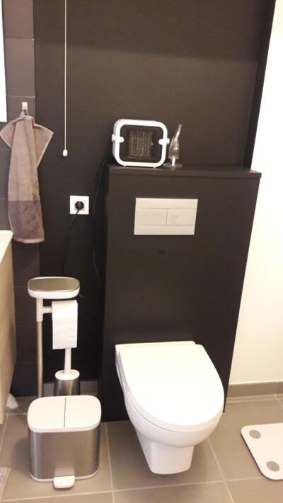Salle de bain noire et blanche avec wc