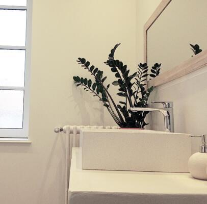 Salle de bain zen blanc avec simple vasque