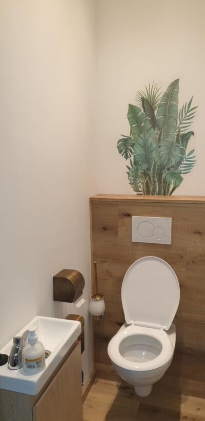Salle de bain zen blanche et bois  avec wc