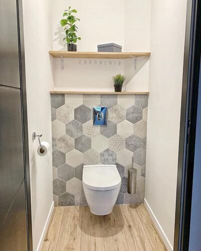 Salle de bain zen gris avec wc