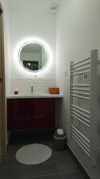 Petite salle de bain blanche et rouge